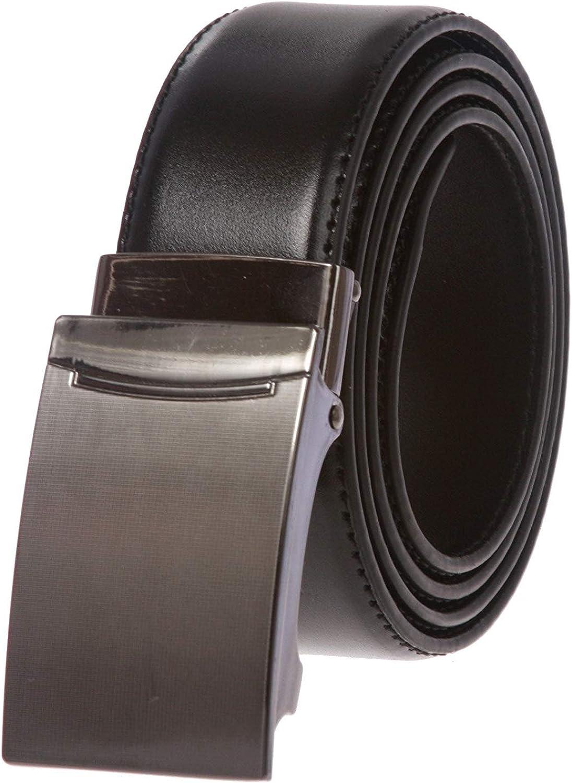 BBBelts Men 1.38 Black Plain Genuine Leather Slide Plaque Buckle No Holes Belt