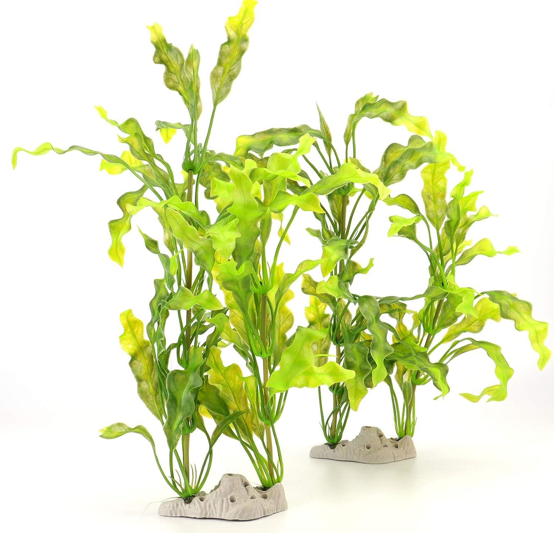 Green Bekith 2 Pack Fish Tank Decoration Aquarium Decor Ornament Plastic Artificial Plant, 16 Inch (Green)