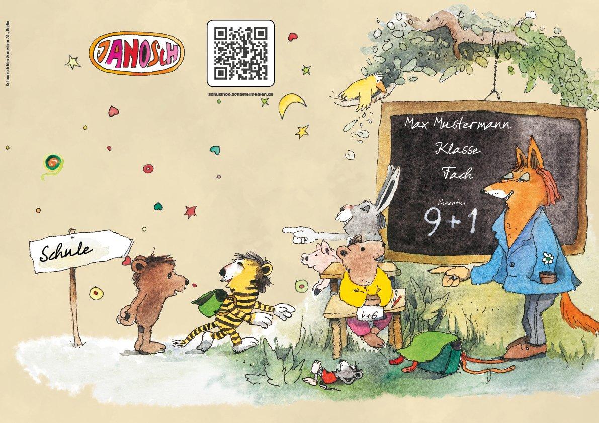 24 lustige JANOSCH-Schulhefte A4, »Fröhliche Schulstunde«, Lineatur 27, MandarinOrange, personalisierbar, 32 Seiten B076RZ3P6J | Moderate Kosten