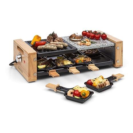 Klarstein Chateaubriand Nuovo Raclette con Piedra Natural • Barbacoa Raclette • Parrilla • 1200 W • Aluminio/Piedra • 8 Personas • Regulable • Acero ...