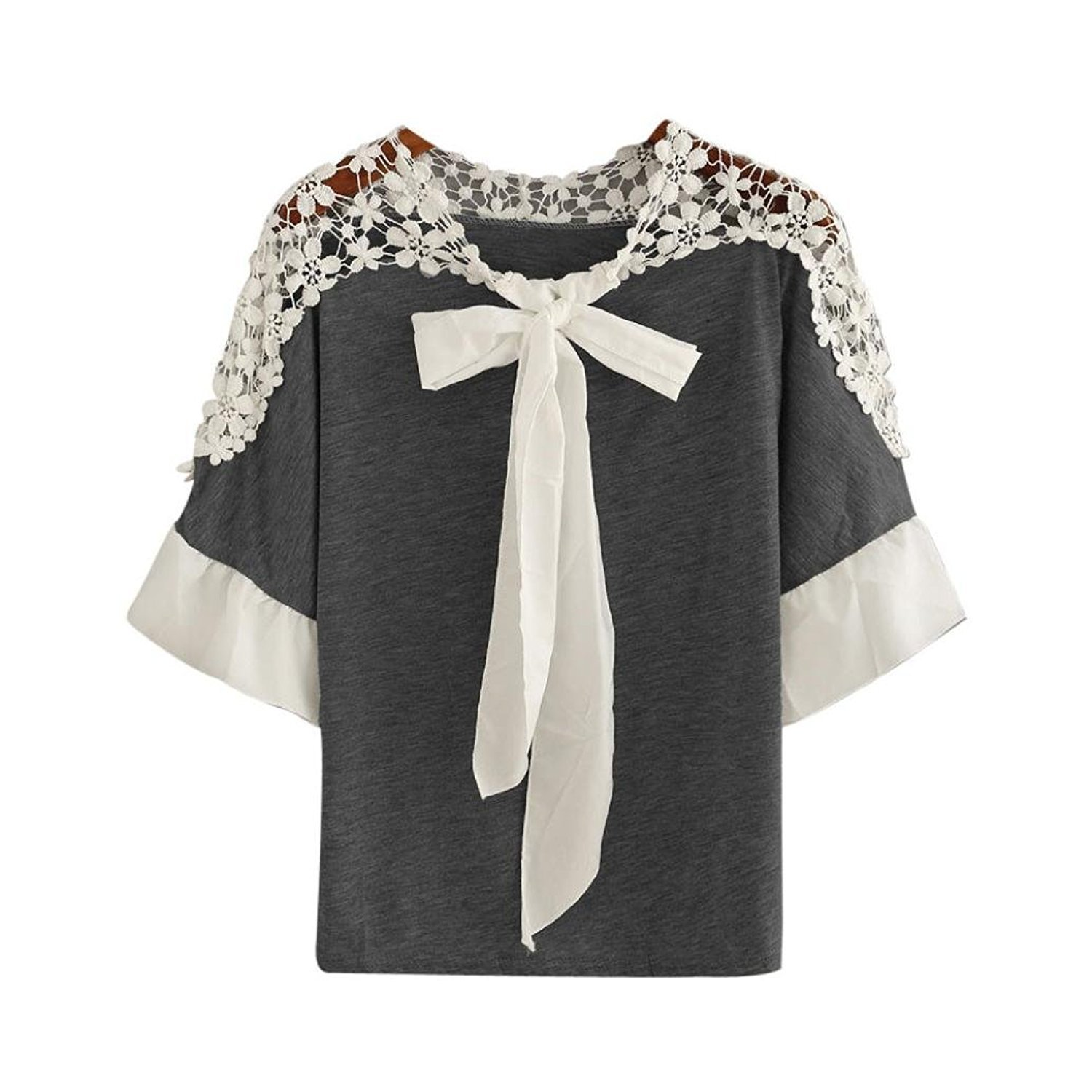 Fulltime(TM) Women Lace Bow Shirt Casual Blouse Tops YHL70818181