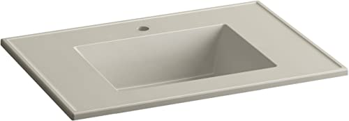 KOHLER K-2779-1-G85 Ceramic Impressions 31-Inch Rectangular Vanity-Top Bathroom Sink with Single Faucet Hole, Sandbar Impressions