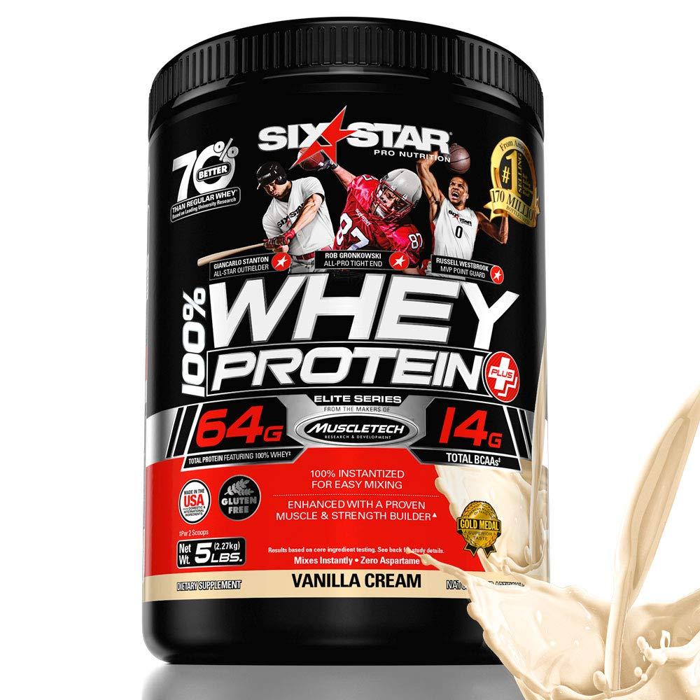 Six Star Elite Series 100% Whey Protein Powder Plus Muscle Builder, 32g Ultra-Pure Whey Protein Powder, Vanilla, 5 Pound