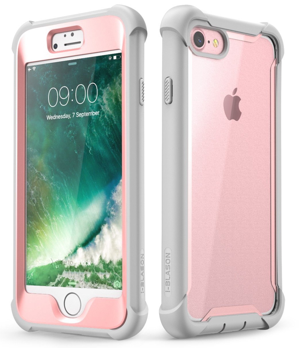 iPhone 8 Case, iPhone 7 Case, i-Blason [Ares] Full-Body Rugged Clear Bumper Case with Built-in Screen Protector for Apple iPhone 8 / Apple iPhone 7 (Pink)