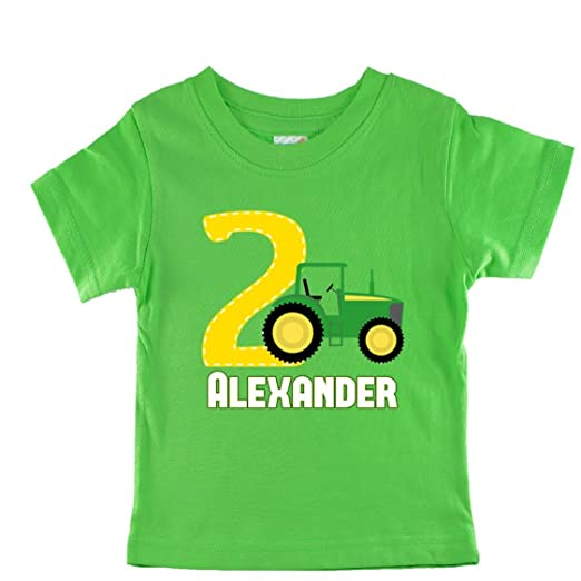 NanyCrafts Personalized Green Tractor Birthday Boy Kids Shirts 7 8Y