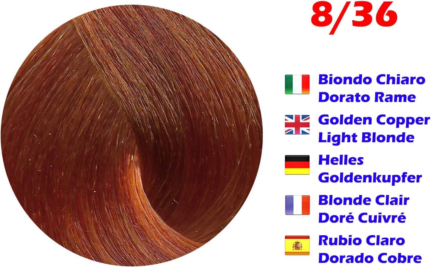 Tinte de Pelo Profesional Rubio Claro Dorado Cobre New Color con Amoníaco 8/36 Permanente 100ml Made in Italy