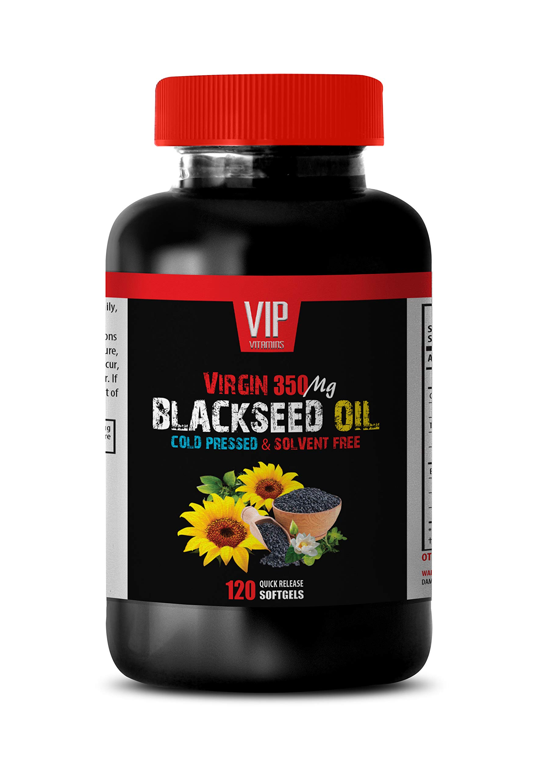 Weight Loss Natural Supplements - Black Seed Oil Virgin 350 MG - Black Seed Oil with Omega 3 6 9-1 Bottle 120 Softgels by VIP VITAMINS