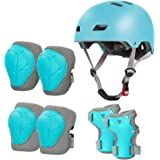 LANOVAGEAR - Rodilleras para niños de 2 a 8 años, ajustable para casco de bicicleta para niños, rodilleras, codos…