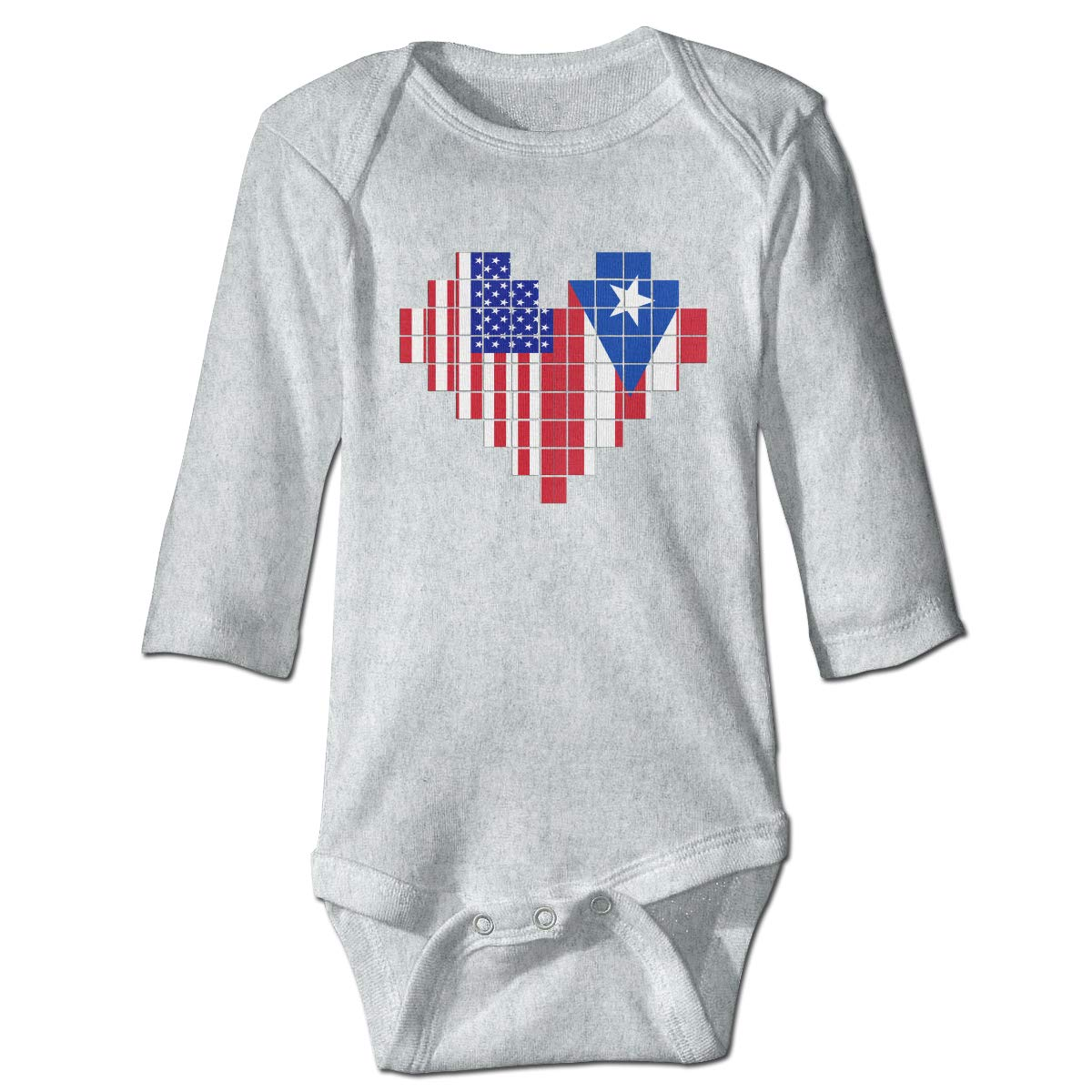 Baby Infant Toddler Long Sleeve Baby Clothes American Flag Puerto Rico Flag Puzzle Heart Playsuit Outfit Clothes