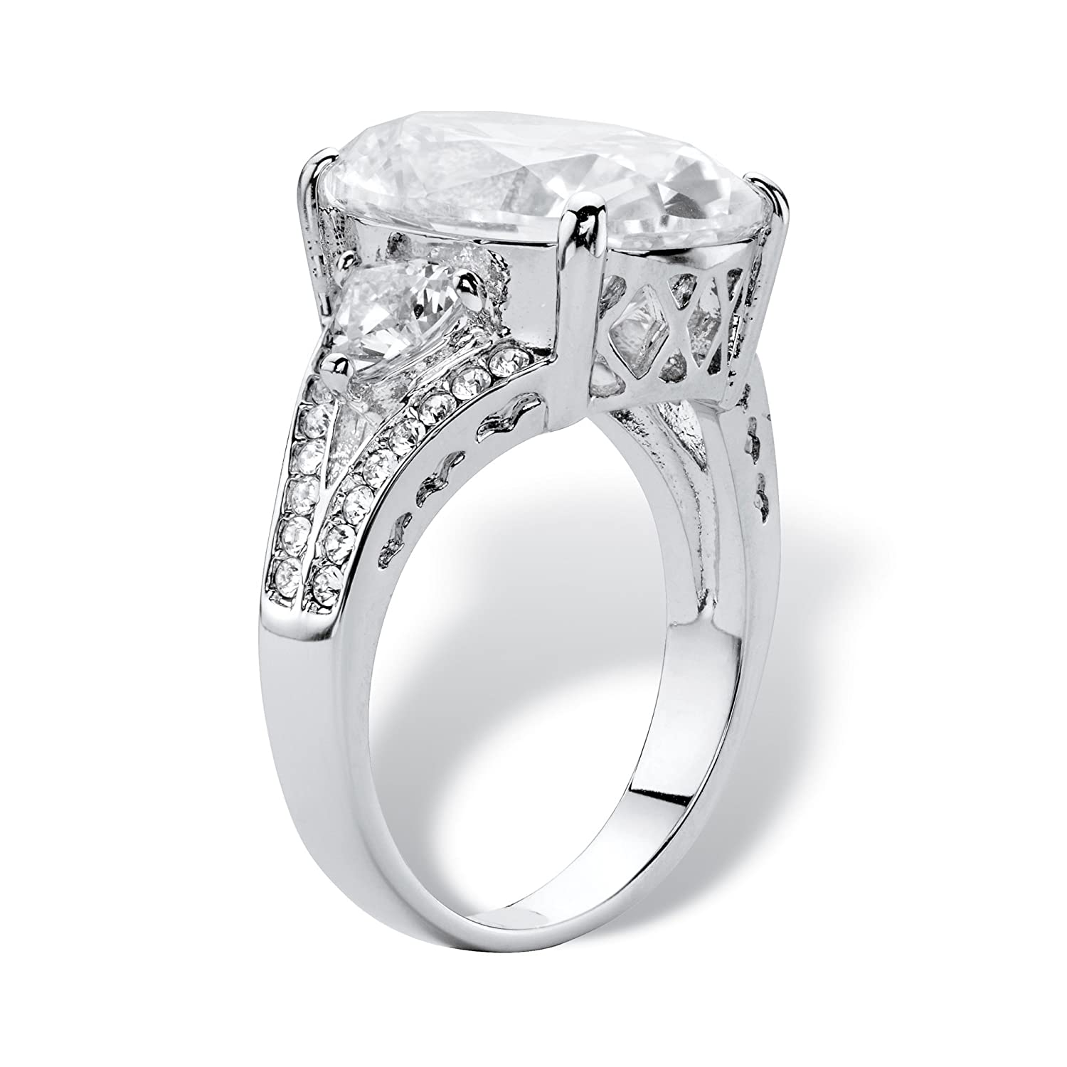 Palm Beach Jewelry Platinum Plated Oval Cut Cubic Zirconia and Crystal Ring