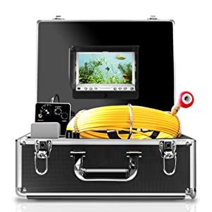 Pipe Inspection Camera,IHBUDS Pipeline Drain Sewer Industrial Endoscope, PC30M Waterproof IP68 30M/100ft Snake Video System with 7 Inch LCD Monitor 1000TVL Sony CCD DVR Recorder (8GB SD Card Include)