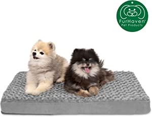 Furhaven Pet Dog Bed | Deluxe Orthopedic Traditional Mat Rectangular Step-On Foam Mattress Pet Bed w/ Removable Cover for Dogs & Cats - Available in Multiple Colors & Styles