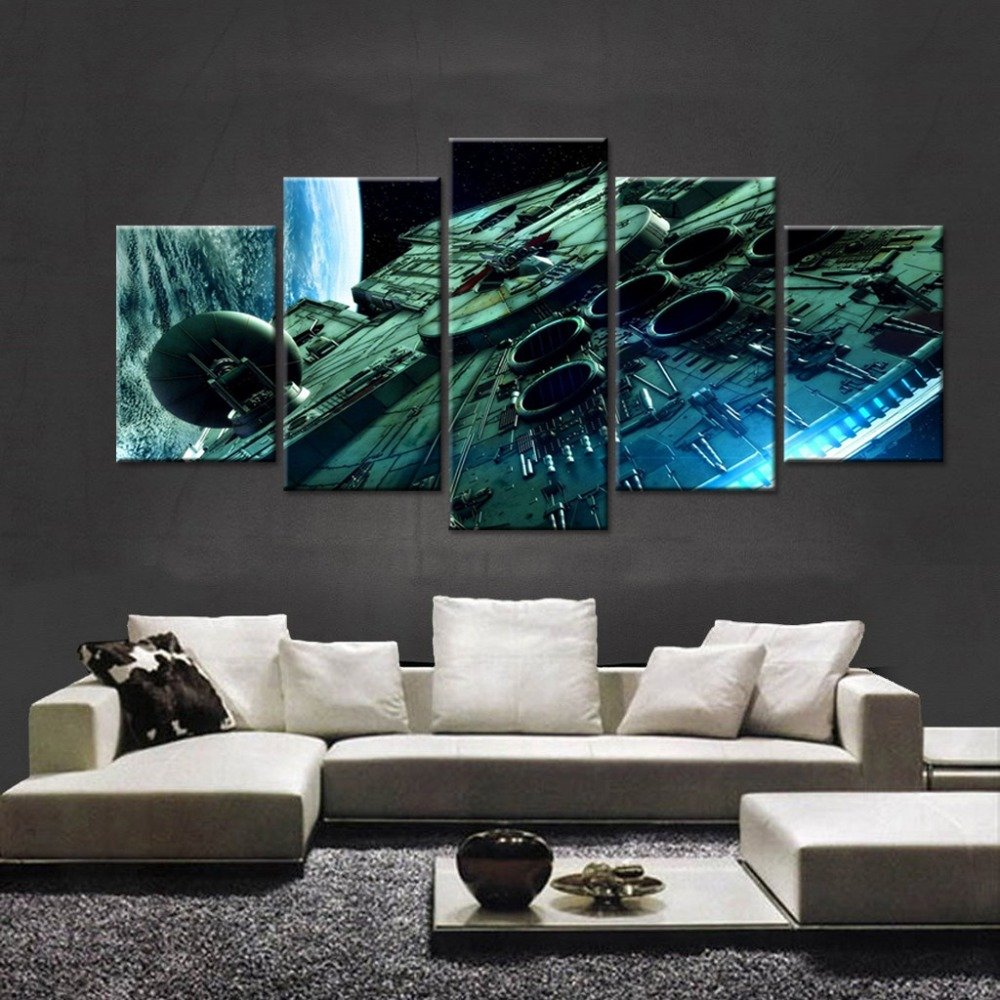 Large Size Millennium Falcon Paintings Star Wars Movie Painting Print on Canvas Art for Living Room Decor Wall Art Painting for Kids Home Decor Framed ready to hang (40x80inches)
