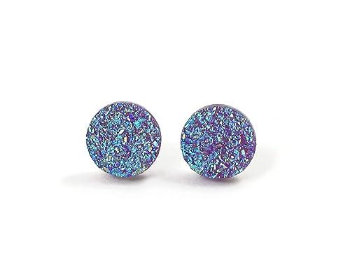 8 mm Faux Druzy Hypoallergenic Stainless Steel Earrings Sparkly Earrings