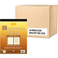 """Roaring Spring Signature Collection 5x5 Grid Covered Engineering Pad, 1 Case (24 Total), 20# Buff, 3 Hole Punched, 8.5"""" x 11"""" 80 Sheets, Buff Paper"""