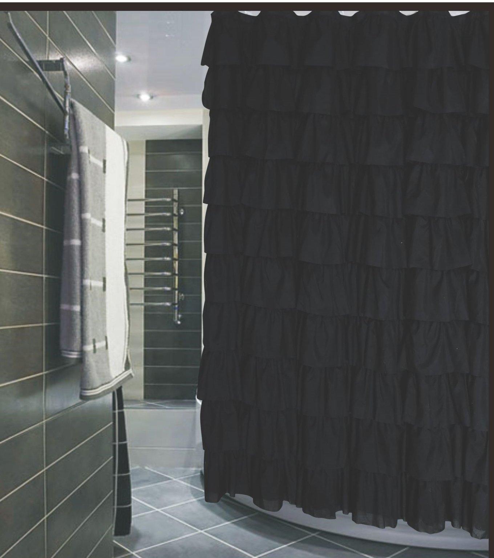Ruffled Black Fabric Shower Curtain