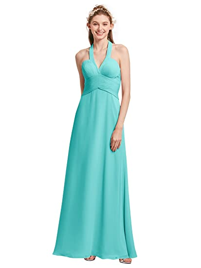 Alicepub V-Neck Halter Bridesmaid Maxi Dresses for Women Long Chiffon Prom Evening Party Gowns