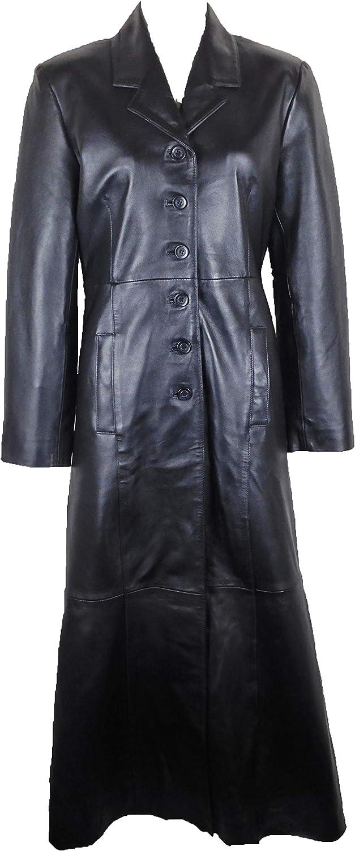 UNICORN Mujeres Genuino real cuero chaqueta Estilo clásico Gabardina Abrigo largo longitud Negro #AX