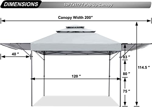 ABCCANOPY 10×17 Pop up Gazebo Canopy 3-Tier Instant Canopy