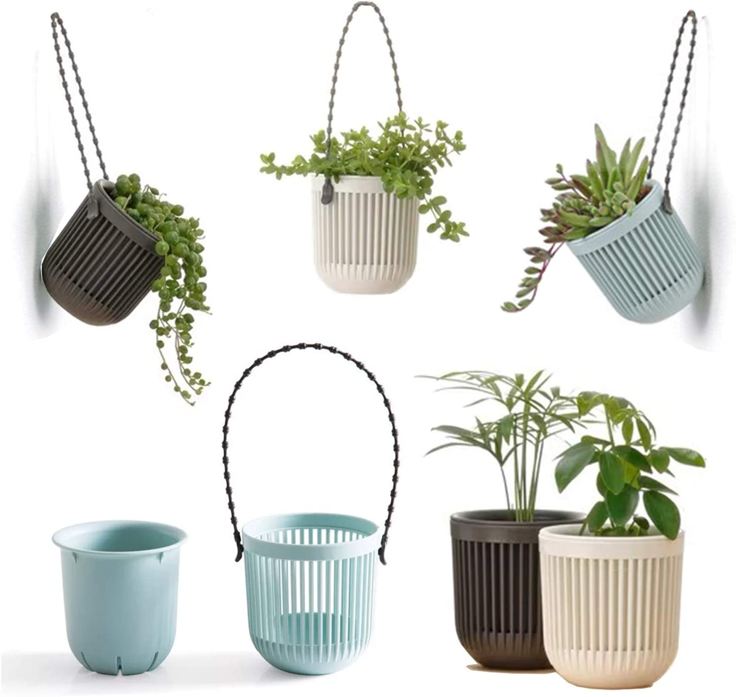 Melphoe 3 5 Two Piece Succulent Planters Pots With Drainage Flexible Removable Handle Planting Pots Flower Pots Small Planter Pots For Mini Plants Hanging Planter On Wall Or Window 6 Pcak Kitchen Dining