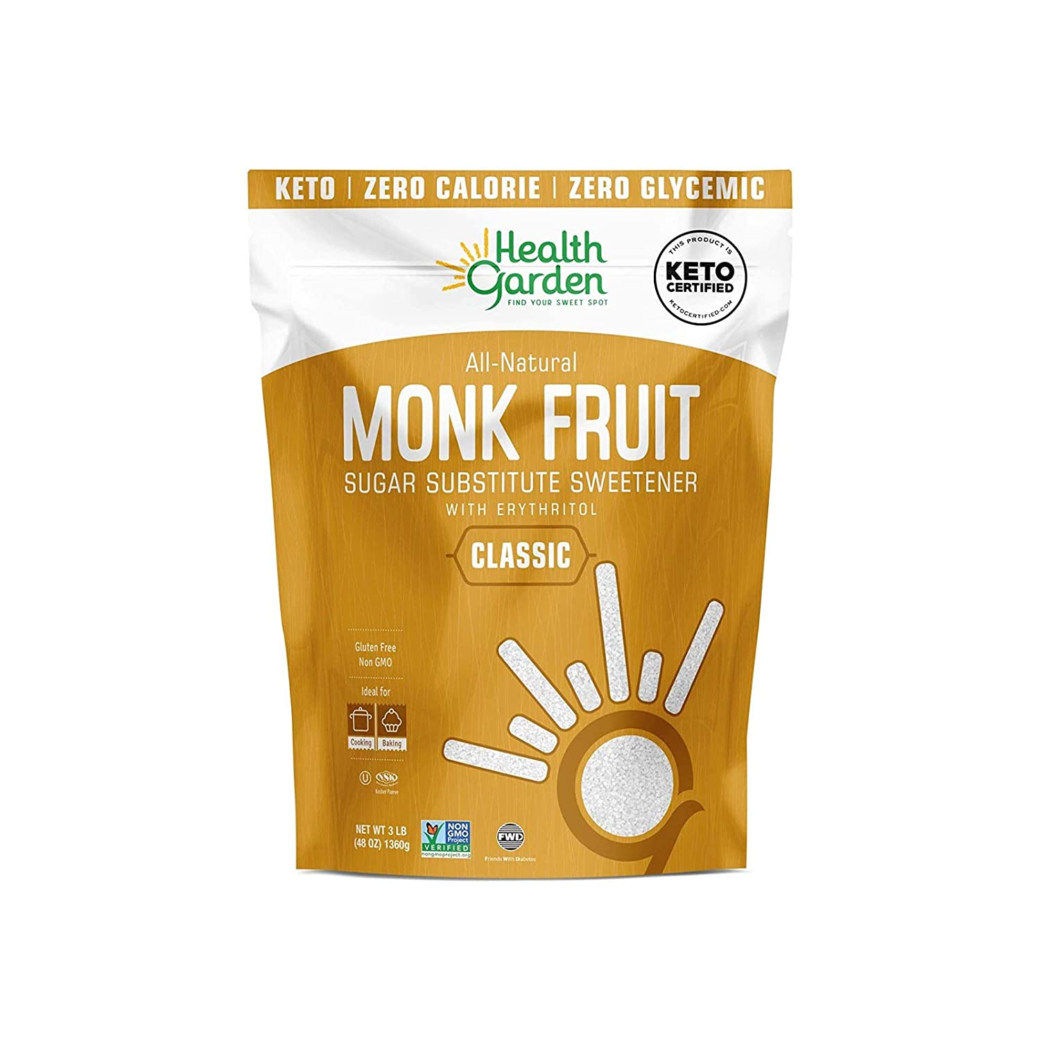 Health Garden Monk Fruit Sweetener Classic - Non GMO - Gluten Free - Sugar Substitute - Kosher - Keto Friendly - (3 LB)