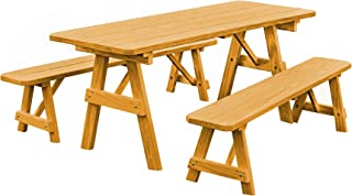 product image for Pressure Treated Pine 8 Foot Picnic Table with Detached Benches- Natural Stain
