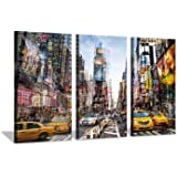 Hardy Gallery Abstract NYC Cityscape Canvas Artwork: NY Times Square Painting Wall Art Print on Canvas for Office (26'' x 16'