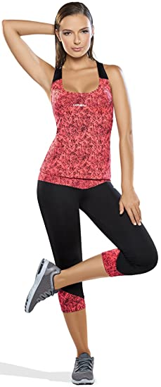 Haby SLHA61525FU-HA61524FU-S Womens Gym Outfit Activewear Set Printed Top  Anti-Cellulite d3e745b66191