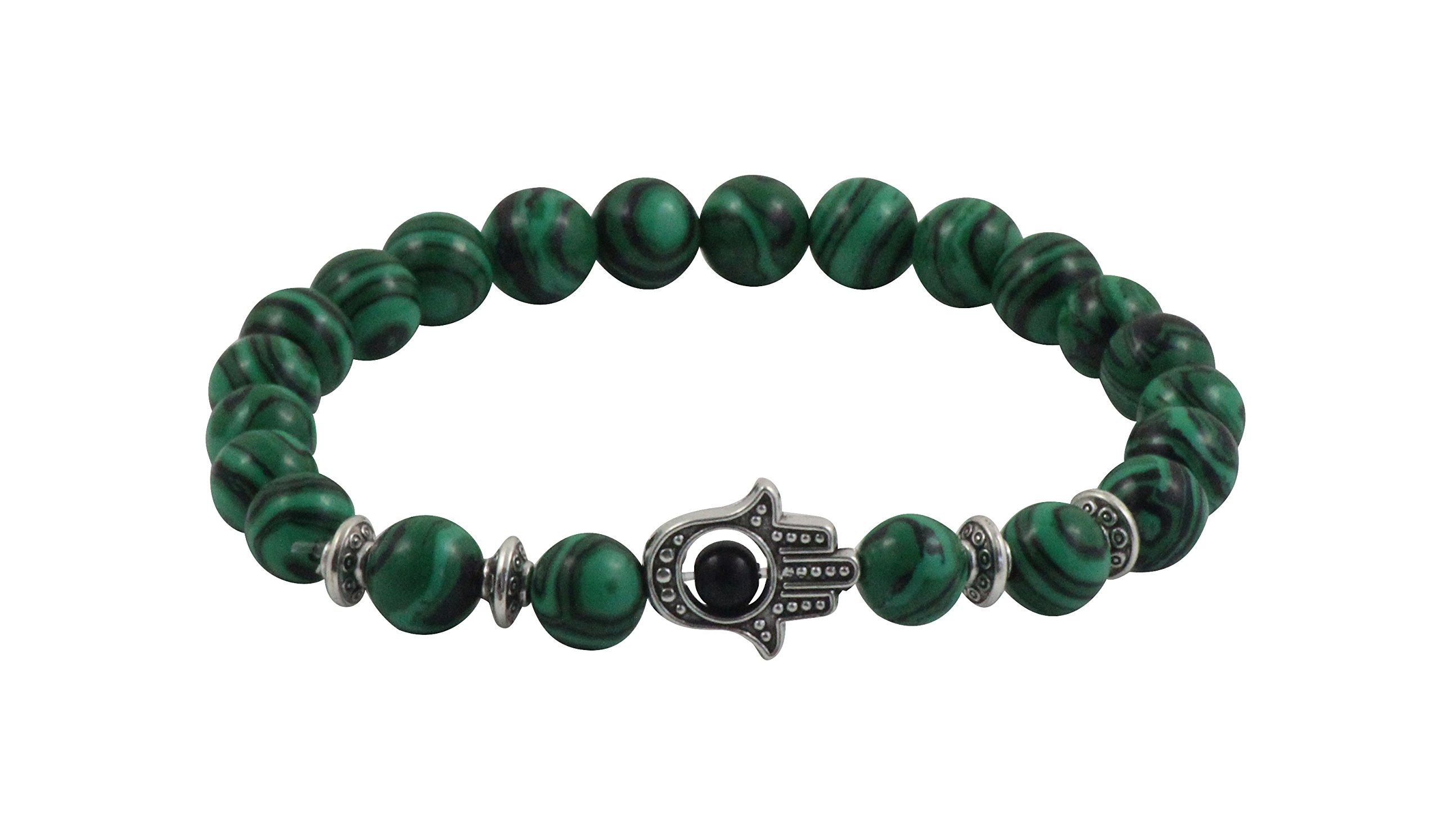 Maya Bracelets Hand of Hamsa Charm Marble Stone Bracelet (Green Malachite Silver)