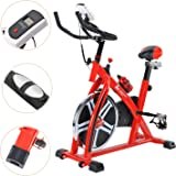 Indoor Cycling Training Exercise Bike, Direct Belt Driven 10kg Flywheel with Adjustable Friction Resistance, 3-Piece Crank, 5-Function Monitor, Emergency Stop System, Ergonomic Handlebars with Heart Rate Sensors, Fully Adjustable Seat, Built In Wheels, 1 Year Home Use Warranty Only