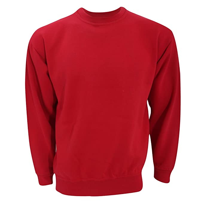 6f74cc5a56 UCC 50/50 - Felpa Girocollo Tinta Unita - Uomo (XXL) (Rosso)