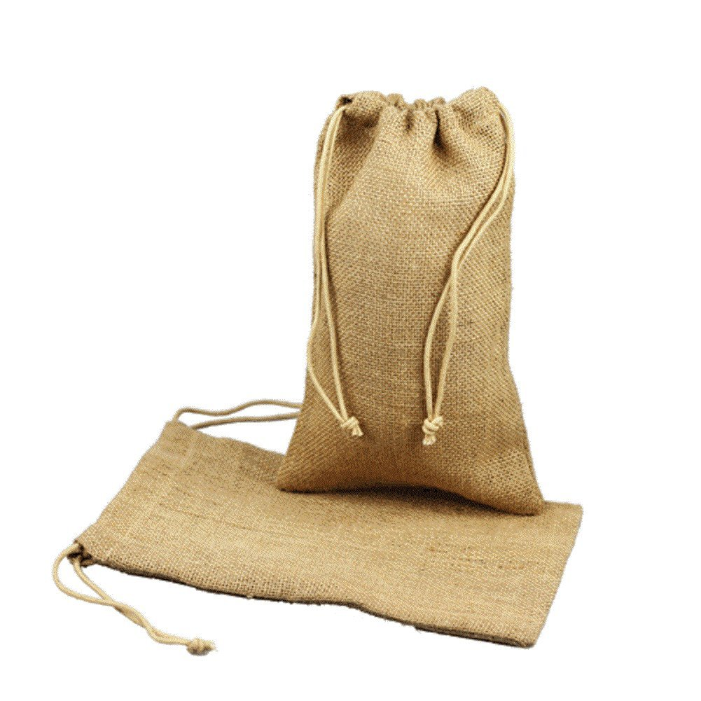 Natural Rustic Chic Burlap Wedding Favor Bags Drawstring Pouch for Gifts, Treats (100, 6'' x 10'')