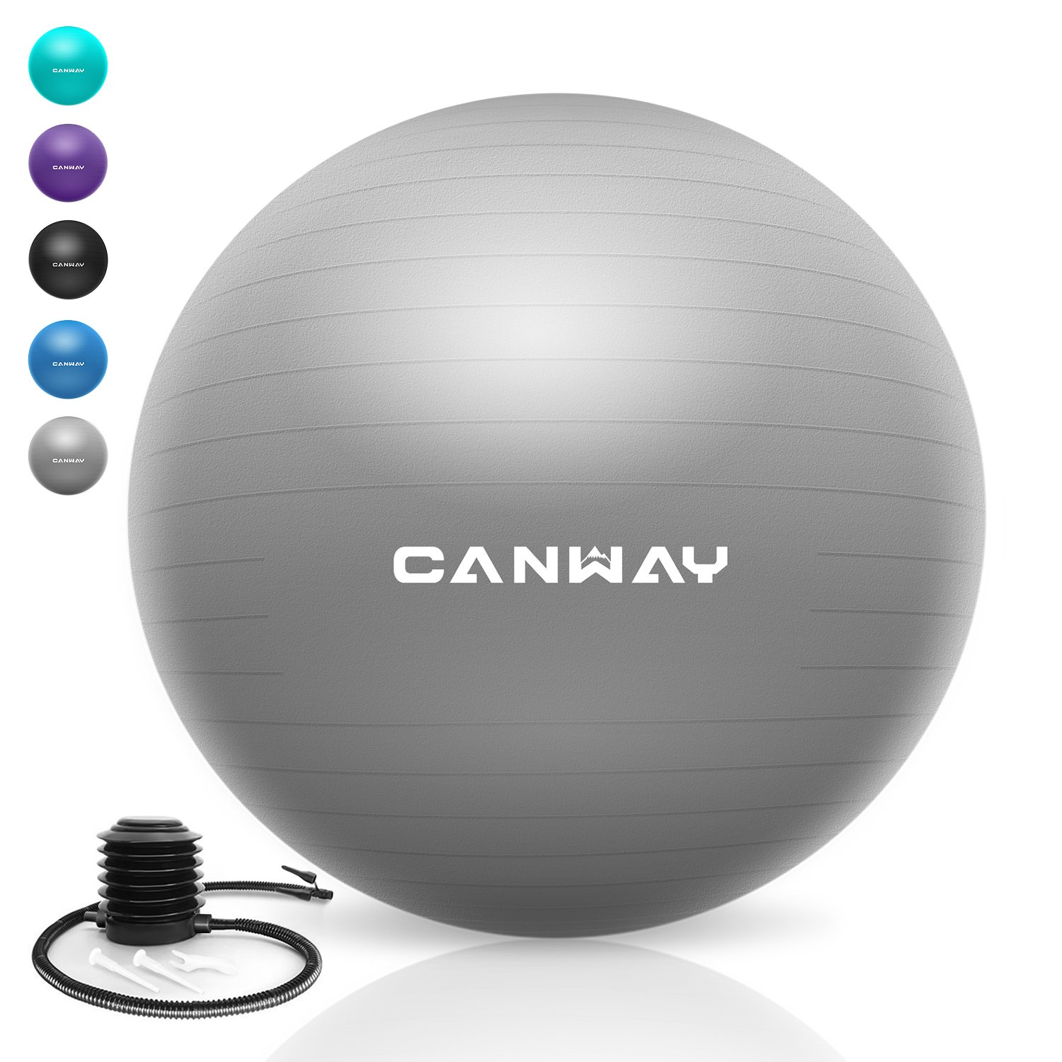Canway Exercise Ball - Extra Thick & Slip Resistant Workout Ball, Professional Grade 2200lbs Anti-Burst Stability Ball, 65CM Yoga Ball with Quick Foot Pump (Bright Silver)