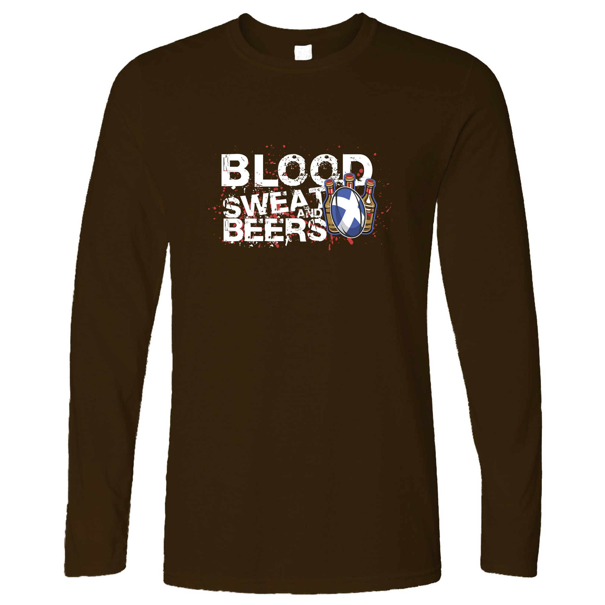 Sports Long Sleeve Blood, Sweat and Beers Rugby Ball Brown XXL