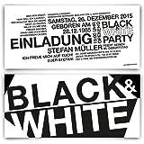 Einladungen (30 Stück) zum Geburtstag - Schwarz Weiß / Black & White - Party Einladungskarten