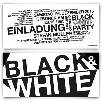 Einladungen (40 Stück) zum Geburtstag - Schwarz Weiß / Black & White ...