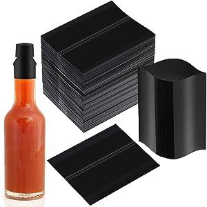 400 Pieces 50 x 60 mm Black Shrink Bands Black Perforated Heat Shrink Wrap for Hot Sauce Bottles Liquor Bottles Beverage Bottles Jars with 3/4-1 inch Diameter