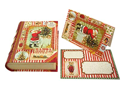 punch studio christmas santa claus book box holiday greeting cards set of 18