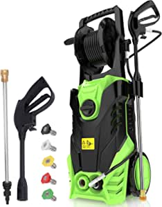Homdox 2950PSI Pressure Washer 1.70 GPM 1800W Electric Power Washer with Hose Reel,5 Quick-Connect Spray Tips(Green)