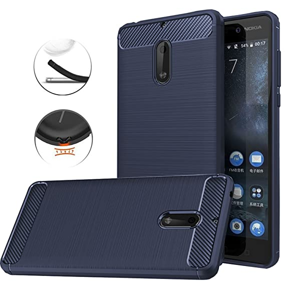 cheap for discount 66f97 f96a1 Nokia 6 Case, Dretal [Shock Resistant] Flexible Soft TPU Brushed  Anti-Fingerprint Full-Body Protective Case Cover for Nokia 6 (5.5