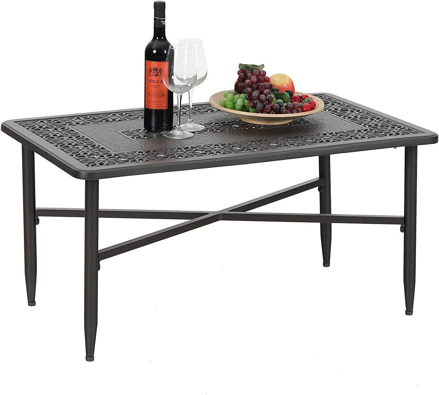 PHI VILLA 38.6 x 23 Outdoor Furniture Patio Retro Tea Dining Table Cast Aluminum Rectangular Elegant Bistro Coffee Table, Dark Brown