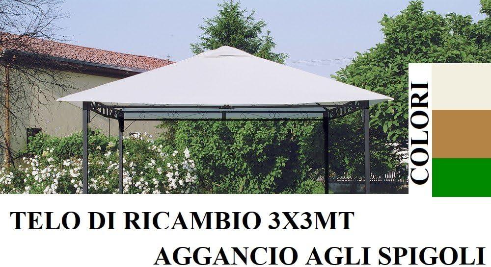 Top Telo copertura per gazebo ricambio 3x3mt ECRU con Airvent aggancio spigoli SOLO TELO