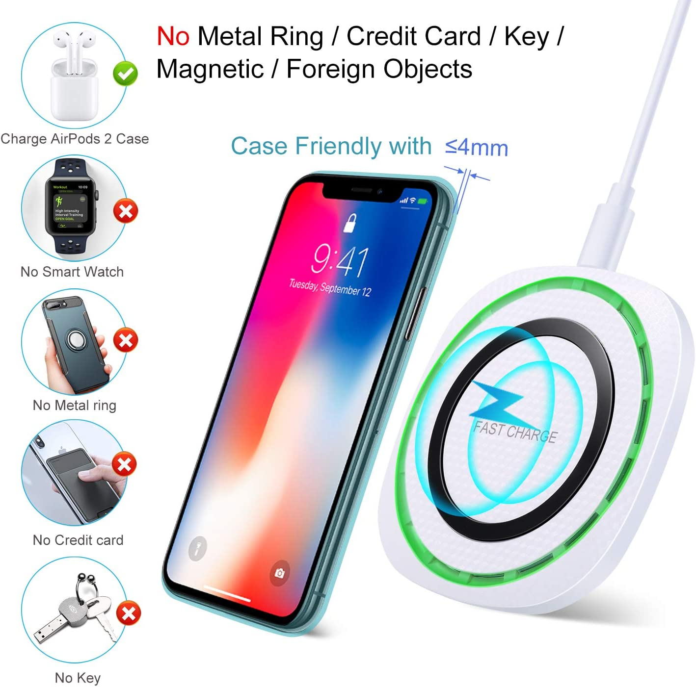 OKRAY 2 Pack Wireless Charger No AC Adapter 10W Fast-Charging Compatible Galaxy S10//S9//S8 Plus//S10E//Note 10//9//8 Plus - Black White 7.5W Compatible iPhone 11//11 Pro Max//Xs MAX//XS//XR//X//8 Plus