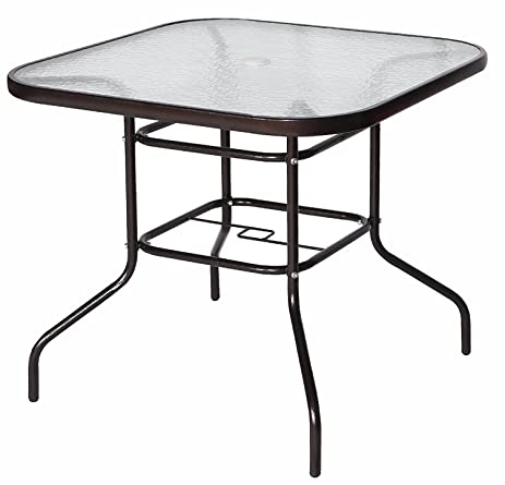 Cloud Mountain 32u0026quot; X 32u0026quot; Outdoor Dining Table Tempered Glass Table  Patio Bistro Table