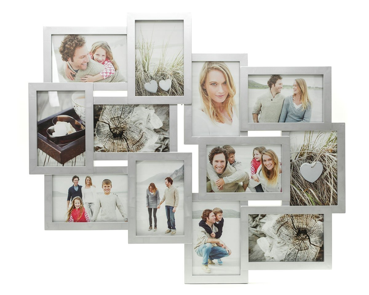 Amazon.de: Fotocollage Bilderrahmen mit Glasscheiben für 12 Fotos ...