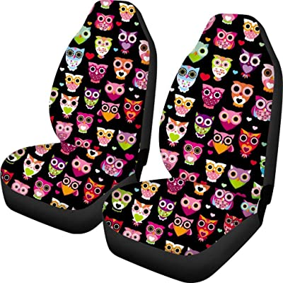 Simasoo Car Seat Cover Comfortable Seats Only Full Set of 2,Lovely owl Print Universal Auto Front Seats for Most Car, SUV Sedan & Truck: Automotive