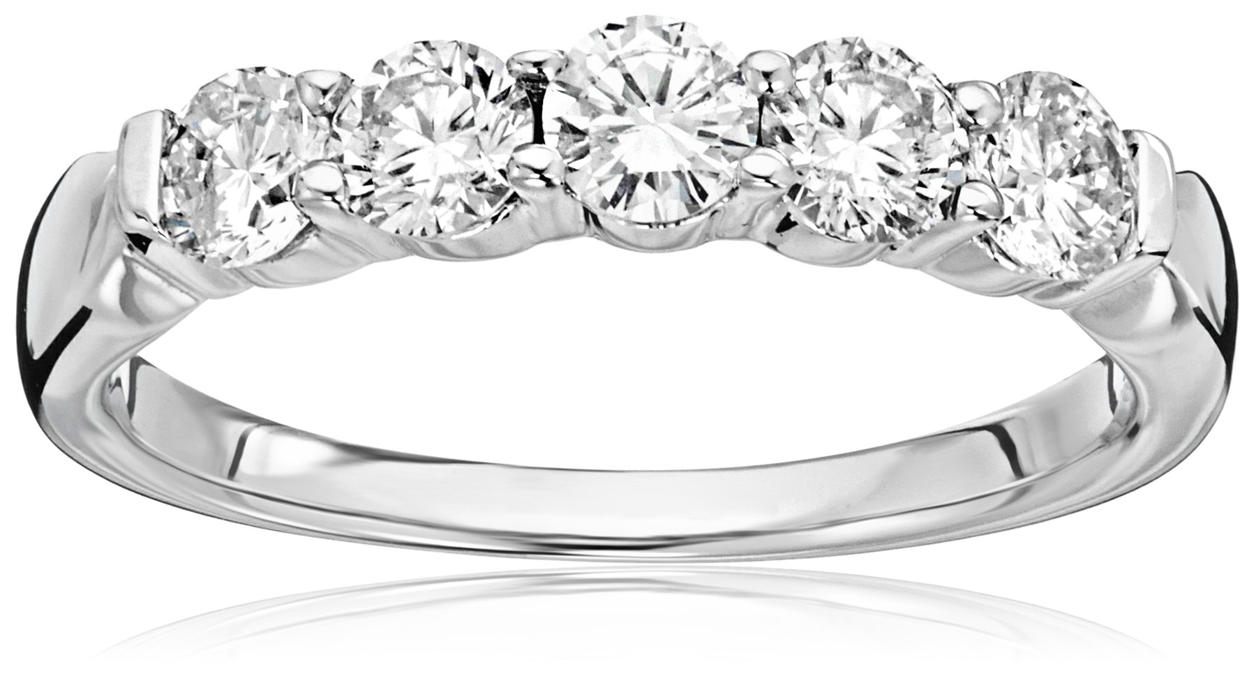 14k White Gold 5-Stone Round Diamond Anniversary Band (1 cttw, IJ Color, I1-I2 Clarity), Size 8