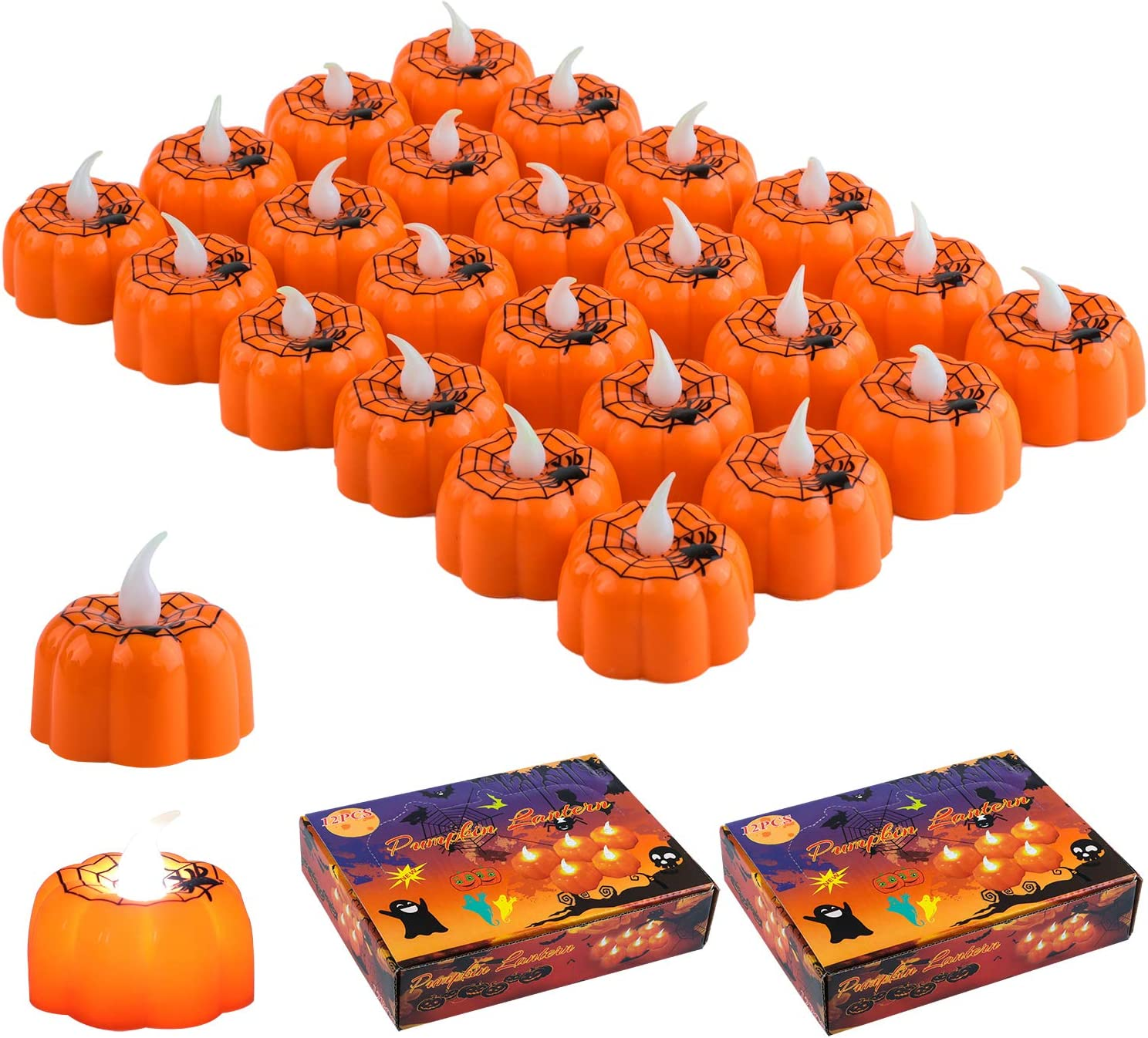Aneco 24 Pieces Spider Tealights Candles Halloween Flameless Candles Halloween 3D Orange Lanterns Candle Decor for Halloween Decorations