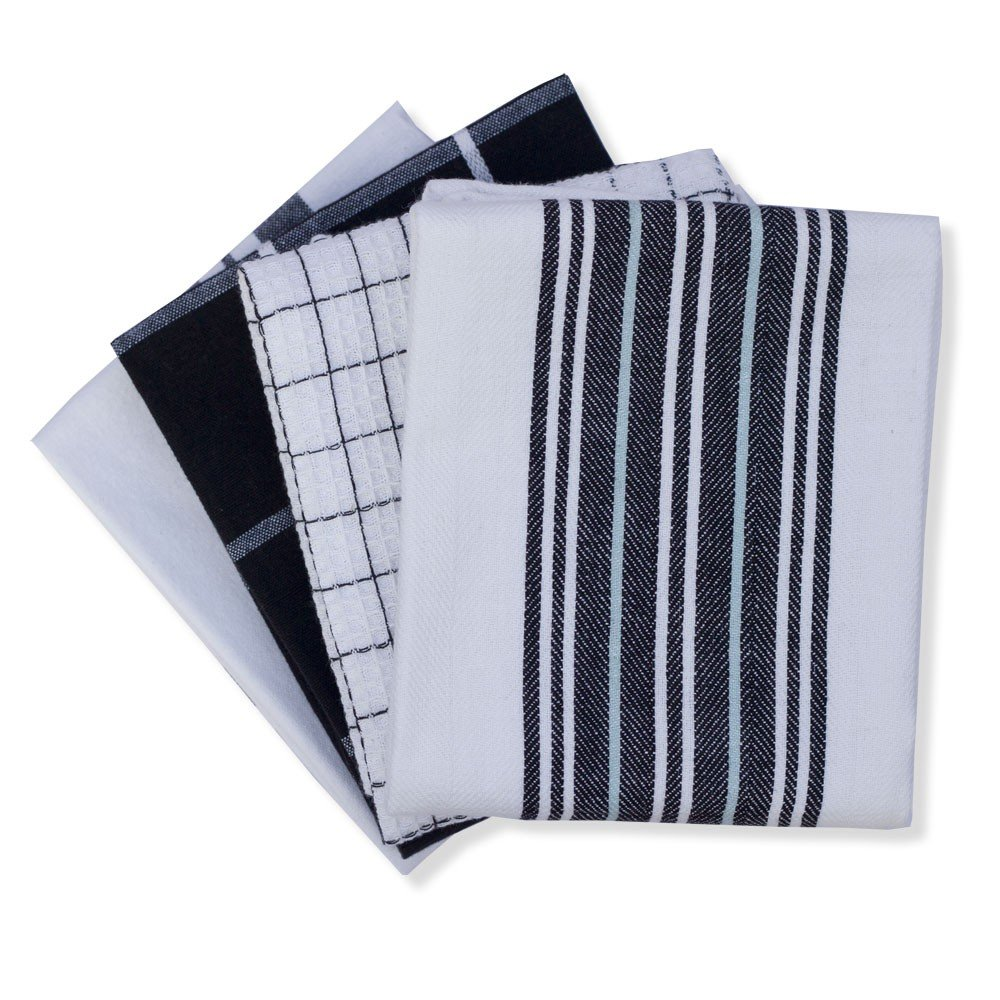 Mahogany Everyday Kitchen Towels with 4 Assorted Designs, Black, Set of 4