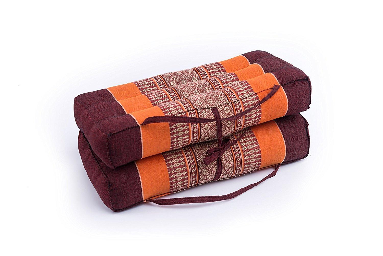 "Mongkol Brand Thai Foldable Pillow, Seat/Chairpad and Meditation Cushion Natural Kapok Stuffing, Orange & Brown 16"" by Mongkol Brand"